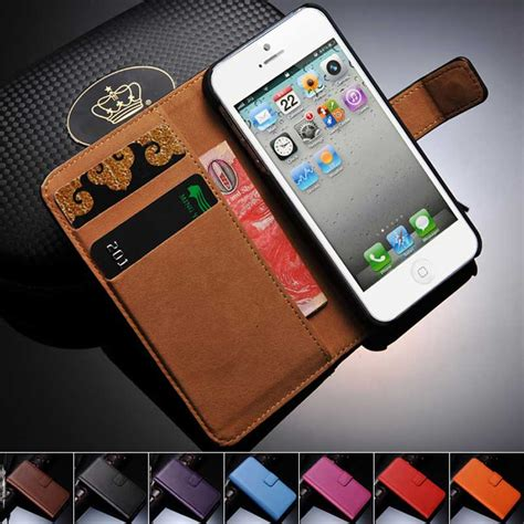 5 5S SE Genuine Leather Wallet With Stand Case for iPhone