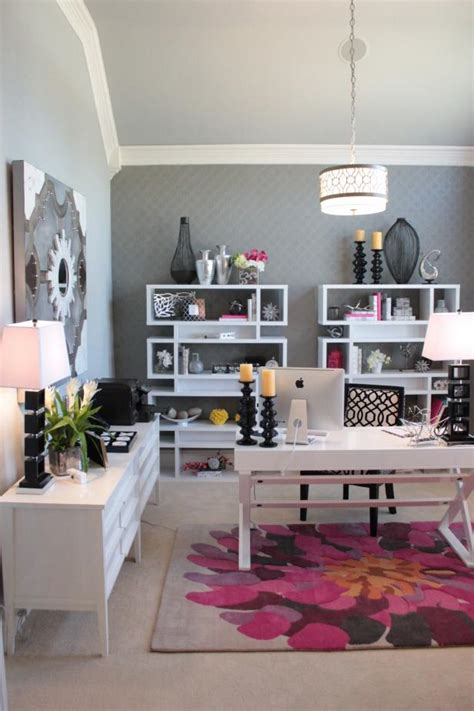 Sophisticated Gray Home Office Features Pops of Pink   HGTV