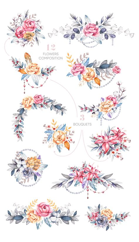 Watercolor Floral Clipart Elements and Compositions - FLORA