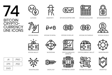 74 Bitcoin & Cryptocurrency Line Icons   Deeezy