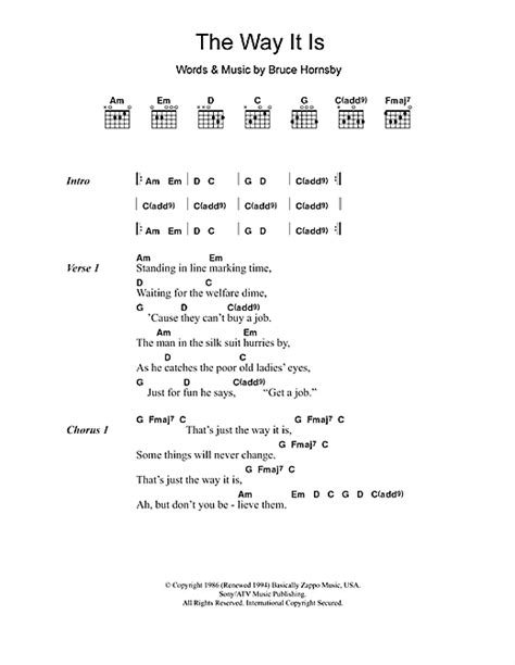 The Way It Is sheet music by Bruce Hornsby (Lyrics