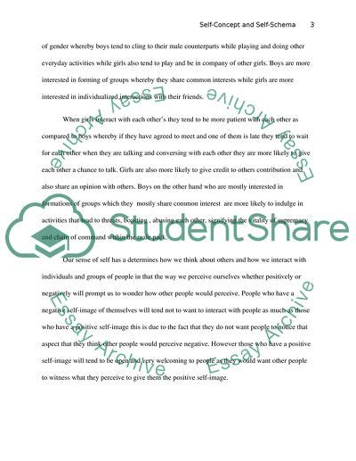 Self-Concept and Self-Schema Essay Example   Topics and