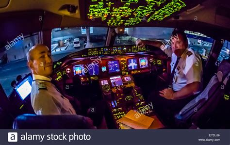Pilots in the cockpit prepare the Delta Airlines Boeing