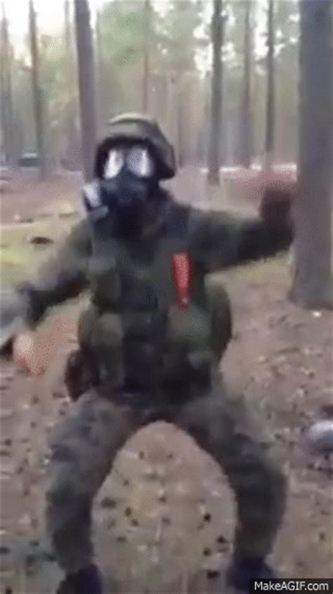 Soldier Dancing with a knife on Make a GIF