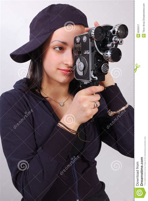 Young Girl With Old Film (movie) Camera Stock Image