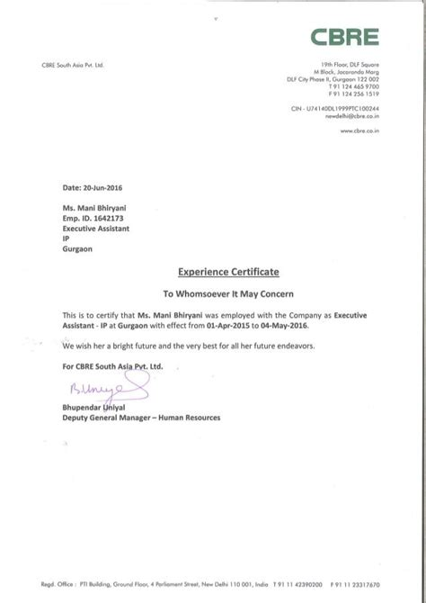 Work Experience Letter CBRE | Work experience, Certificate