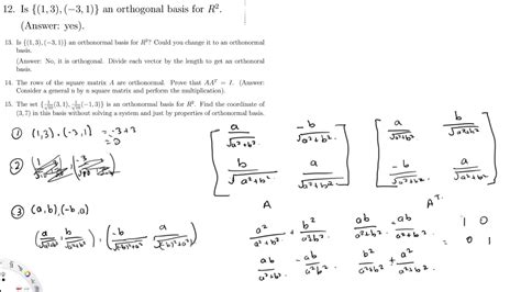 Orthogonal Basis and Orthonormal Basis Sample Questions