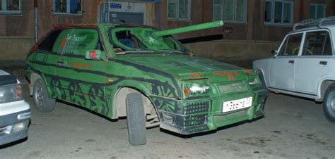 Russian Cars Dressed as Tanks for Victory Day - autoevolution